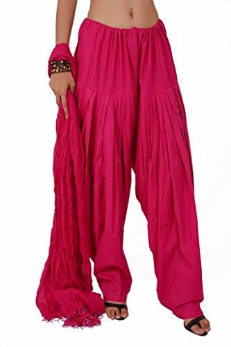Stylenmart Women Pink Plain Patiala Bottom Dupatta
