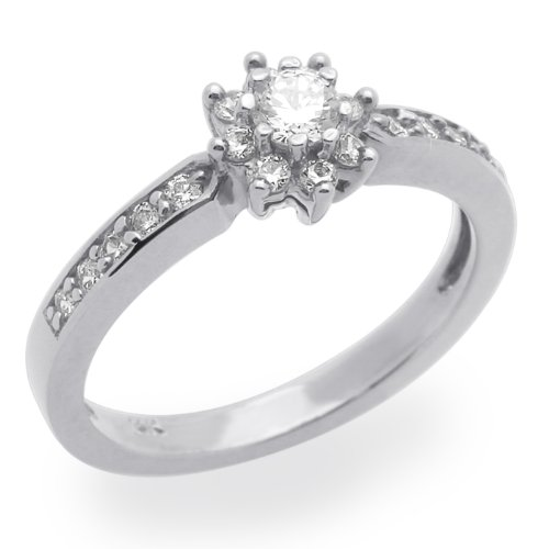 Little Treasures 14 ct White Gold Engagement Ring 0.5ctw CZ Cubic Zirconia Cluster Solitaire Ring