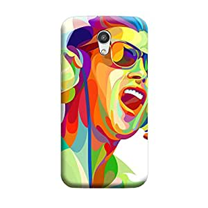 Abstract Coloured Music Boy Premium Quality Designer Cases For Moto G2 Matte Finish Hard Case Mobile Back Cover With Full Protection