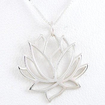 "Large Open Design Lotus Flower Pendant in Sterling Silver on a 16"" Sterling Box Chain, #8451"