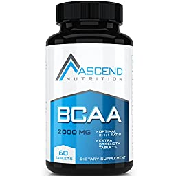 Ascend BCAA Amino Acids Supplement , Essential Workout Tablets to Build Muscle Mass and Promote Rapid Workout Recovery - 2000mg Tablets to Support Lean Muscle Building