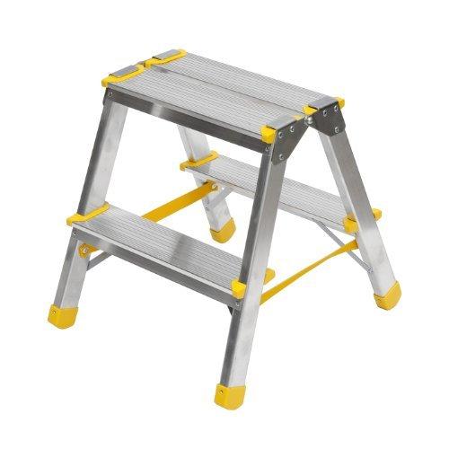 aluminium trittleiter beidseitig begehbar 2x2 stufen. Black Bedroom Furniture Sets. Home Design Ideas