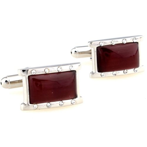 Beour White-gold-plated-silver Red and Silver Romantic Copper Rectangle Cufflinks