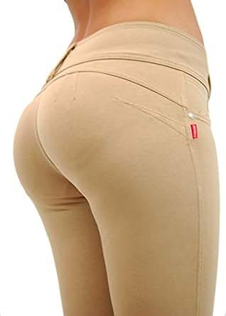 U-Turn Style 1119 Butt lifting, Levanta Cola, Skinny Leg Premium French Terry Fashion Moleton in Beige