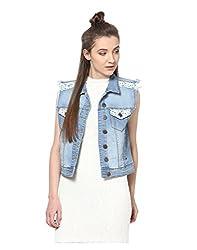 Yepme Women's Blue Cotton Denim Jackets - YPMJACKT5089_XS
