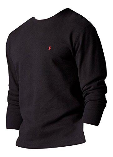 ralph-lauren-t-shirt-sweat-manches-longues-little-pony-pour-homme-100-coton-pique-epais-coloris-noir