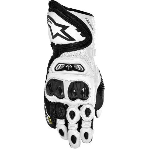 Alpinestars GP Tech Men's Leather Street Bike Racing Motorcycle Gloves - Black/White / X-Large