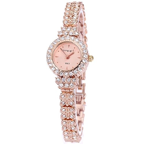 King Girl royal rose gold bracelet watch women top brand unique full crystal diamonds for ladies quartz round - pink dial (Gold Watch With Crystals compare prices)