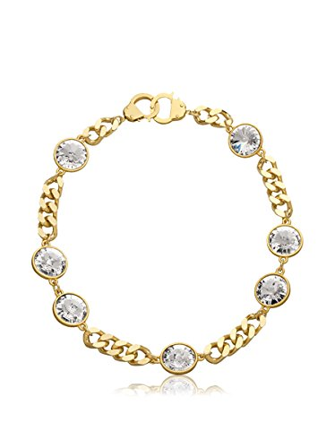 Eklexic 7 Crystal Curb Chain & Handcuff Clasp Necklace