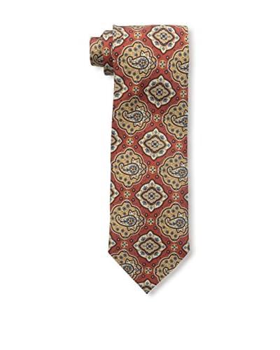 Rossovivo Men's Paisley Tie, Brick/Blue
