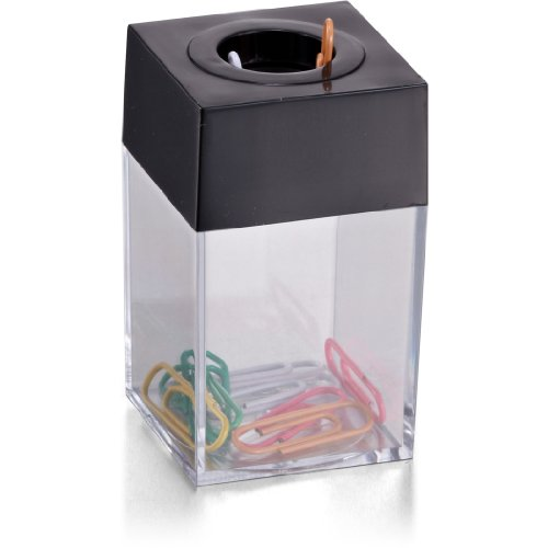 Officemate OIC Small Clip Dispenser with Magnetic Top, Clear/Black (93687) (Paper Clip Holder compare prices)