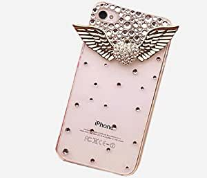 niceEshop(TM)3d Bling Crystal Angel Wings Transparent Case, Cover for Apple Iphone4, 4g and 4s