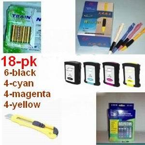 A great deal, 18-pk 6-black / 4-cyan / 4-magenta / 4-yellow of Compatible ink Cartridges For HP 88XL hp88xl hp88 xl +(1) 12 digit solar calculator + 5 ball pen + (1) cutter + 4-pk AA batteries, great Value........!!!!...
