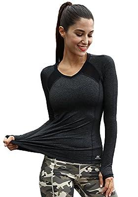Matymats Women's Workout Tee Long Sleeve Yoga Running Gym Sports T-Shirt Fast Dry