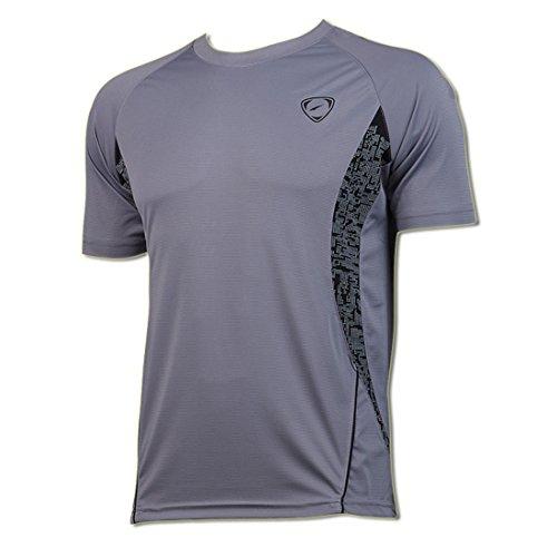 Jeansian Men's Sport Quick Dry Short Sleeve T-Shirt LSL011 Gray XL