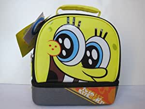 Nickelodeon Spongebob Squarepants Totally Awesome Dual Compartment Soft Insulated Lunch Bag Box Tote