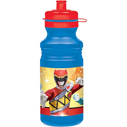 Amscan Power Rangers Dino Charge Drink Bottle (1 Piece), Red/Blue/Orange/Yellow, 18 oz