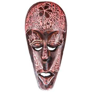 Red Wooden African Mask Wall Tribal Decorative