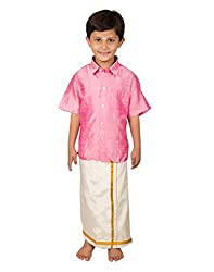 Thangamagan Baby Boy's Shirt/Dhoty Regular Fit(Pink,Age : 2 to 3 Years)