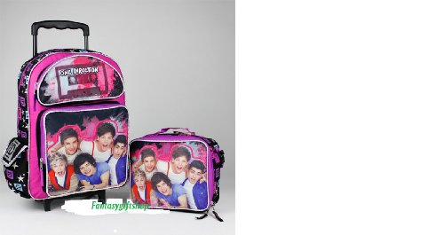 One Direction Rolling Backpack 1d Cassette 16 Large Girls Wheeled Book Bag Lunch Box