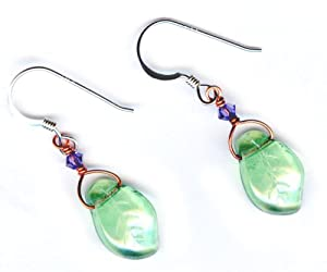 Czech Fire Polished Beads with Copper and Sterling Earrings (Leaf)