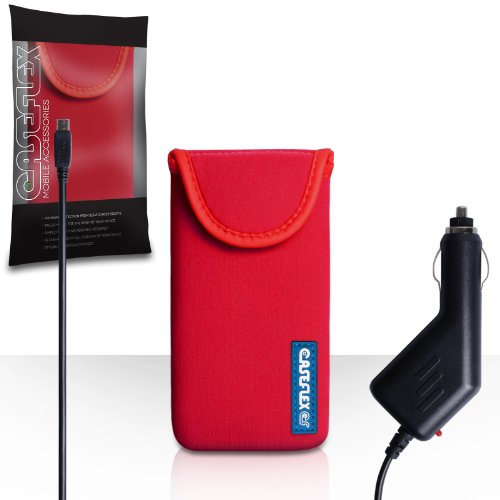 Nokia Asha 500 Case Red Neoprene Pouch Cover With Caseflex Logo And Car Charger