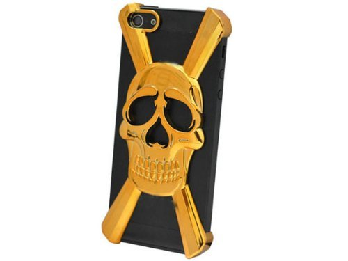 HJX Gold iphone 5 X Shape New Special Skull Hard Case Cover Skin for iPhone 5 5g