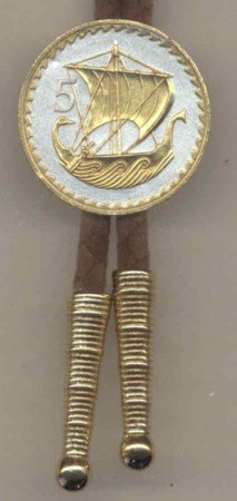 Two Tone 5 Mils Viking Ship Coin Bolo Tie- BT-147