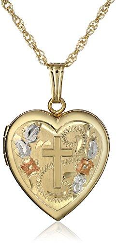 "14k Yellow Gold-Filled Engraved Cross Heart Locket, 18"""