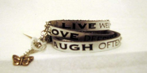 His Hands 3500 Silver Leather Wrap Around Bracelet Live Well, Laugh Often, Love Deeply