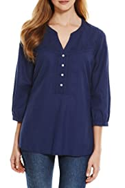 M&S Collection Open Neck Collar Embroidered Shirt with Linen [T41-6702W-S]
