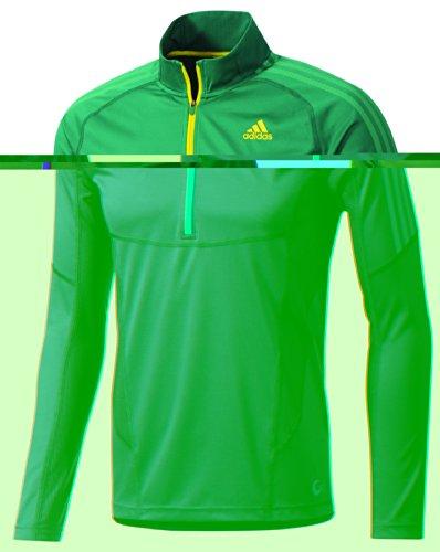 adidas Z18562 Men's Sub Green Ts Long Sleeve 1/2 Zip Tee , M
