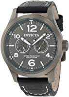 Invicta Men's 10492 Specialty Military Charcoal Dial Black Leather Watch by Invicta