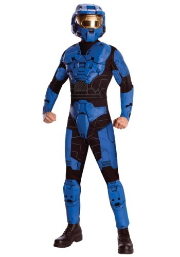 Rubies Mens Deluxe Blue Spartan Halo Theme Party Fancy Dress Costume