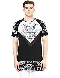 Wear Your Mind Black Extra Long Graphic Print Cotton T-Shirt For Men TSS231.2