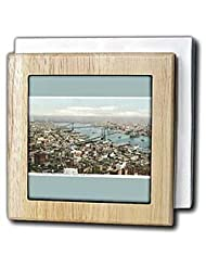 BLN Vintage New York City Collection - New York City as seen From the Singer Tower Ariel View of the River - Tile Napkin Holders - 6 inch... by 3dRose