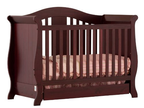 Stork Craft Vittoria 3-in-1 Fixed Side Convertible Crib, Cherry