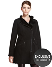 Autograph Luxury Suede Shearling Biker Coat