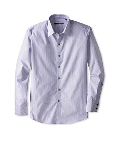 Zachary Prell Men's Silverman Long Sleeve Tonal Diamond Shirt