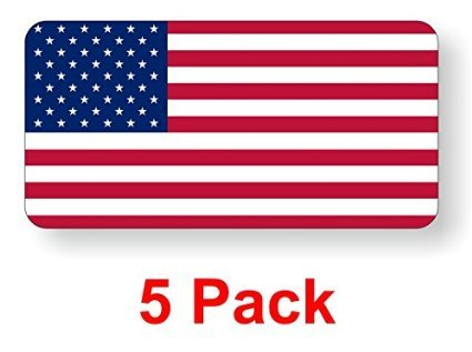 (5) American Flag Hard Hat Stickers / Decals / Labels Tool Lunch Box Helmet Patriotic Old Glory