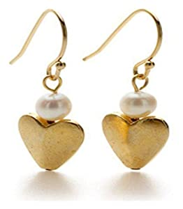 Pricegems Gold Plated Ladies French Wire Freshwater Pearl 'Bactrian Gold' Heart Drop Earrings