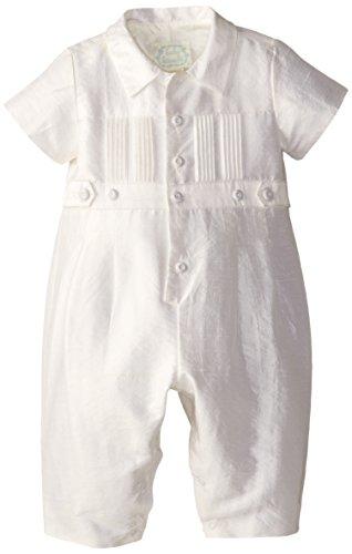 Biscotti Baby-Girls Newborn Cherished Heirloom Boy Silk Romper, White, 9 Months