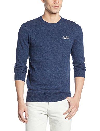 Superdry Uomo Orange Label Logo Knit, Blu, Large