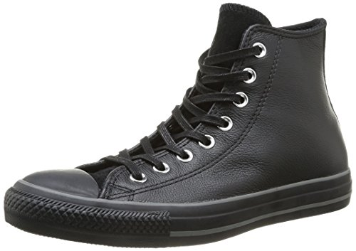 Converse, All Star Hi Leather Suede Sneaker,Unisex Adulto, Nero (Black/Silver), 43