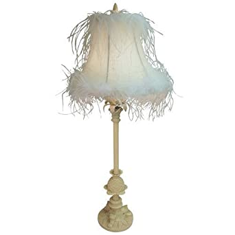 shabby chic ornate cream table lamp with crystal droplets. Black Bedroom Furniture Sets. Home Design Ideas