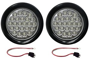 """2 Clear / White Led Strobe Light 4"""" Round Grommets, Pigtails"""