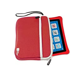 DURAGADGET Fantastic Red Durable & Water Resistant Neoprene Case / Cover With Front Zip Pocket For Fuhu Nabi & Nabi 2 Kid's Tablet (NV7A 7-Inch)