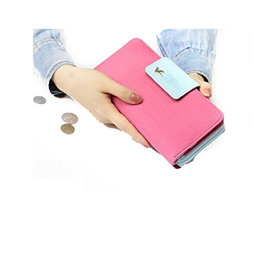 Coromose Birds Clutch Wallet Leather Case Long Zip Button Card Purse Handbag (Hot Pink)