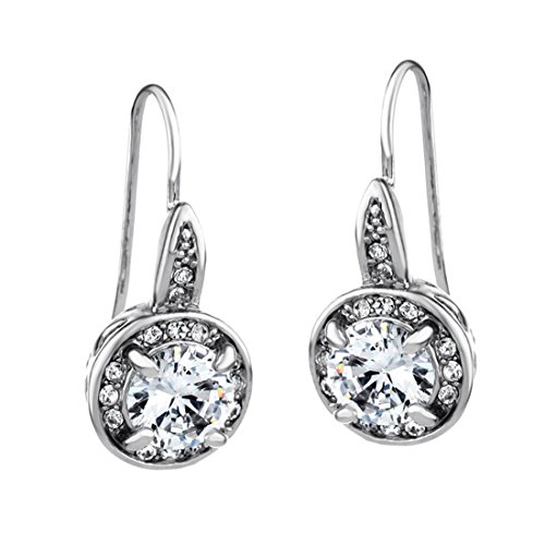 Neoglory Jewelry Platinum Plated White Luxury Clear Rhinestone Drop Earrings with Titanium Earring Posts