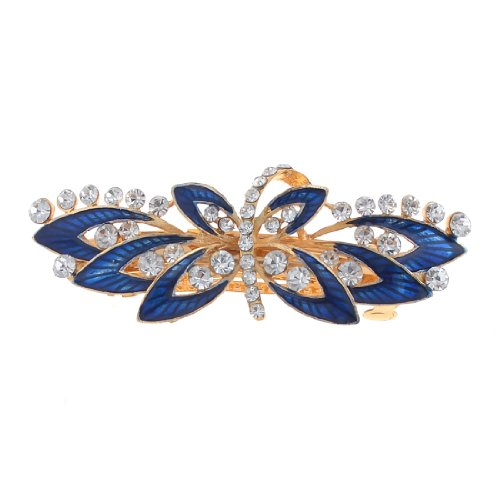 Uxcell Royal Blue Flower Design Faux Rhinestone Inlaid Gold Tone French Clip